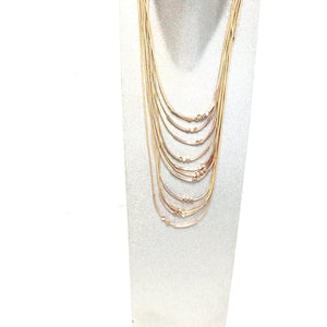 Sarina multi layered gold and rose gold colored necklace