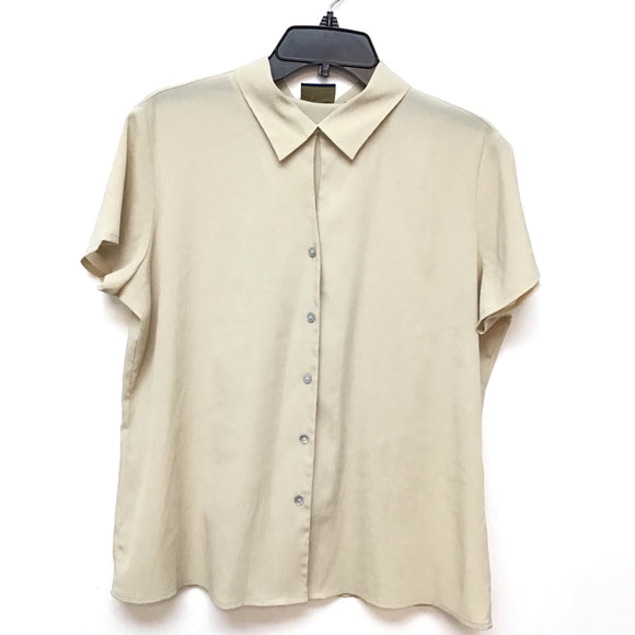 Laura Scott beige short sleeve blouse size 14