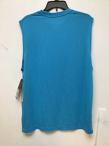 Head mesh sleeveless cyan blue