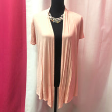 Short Sleeve Open Front Cardigan- Peach