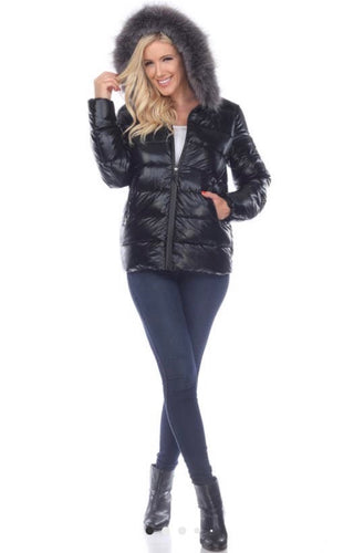 White Mark Metallic Black Puffer Coat With Hoodie