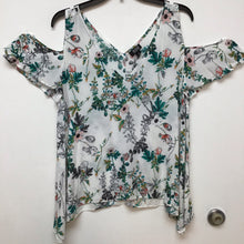 Ana white floral print blouse size Large