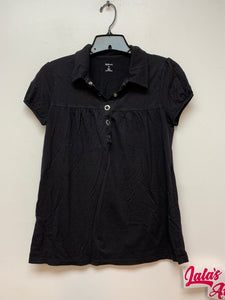 Style & Co Short Sleeve Top - Black