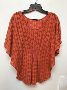 The Addison Story coral top with burnt orange designs size medium