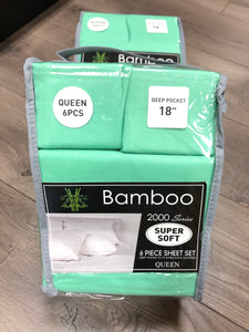 Bamboo Queen Sheet Set 2000 Series - Solid Bright Mint