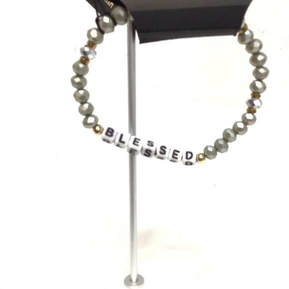 Sarina small silver beads with the word blessed