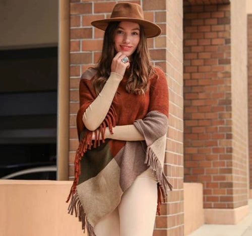 Color Block Tasseled Poncho - Rust Mocha