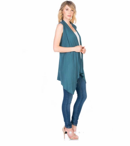 Sleeveless Open Front Cardigan Teal