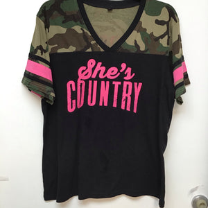 Unbranded Black and camo shirt with pink writing size 2XL