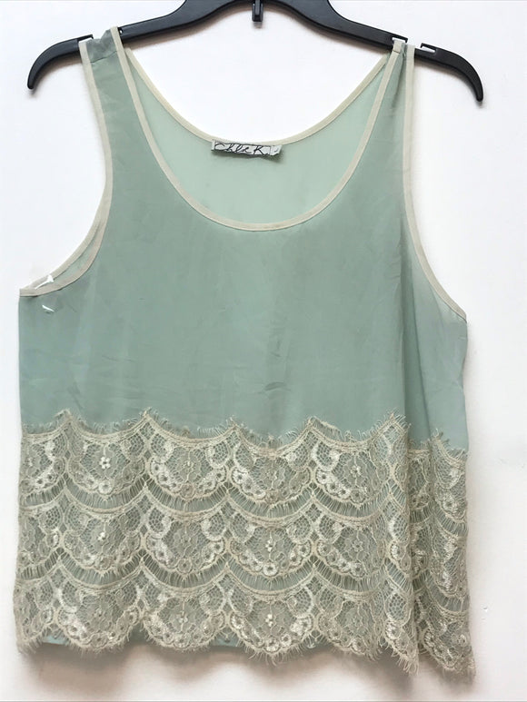 Chloe K Sleeveless Top - Mint Large