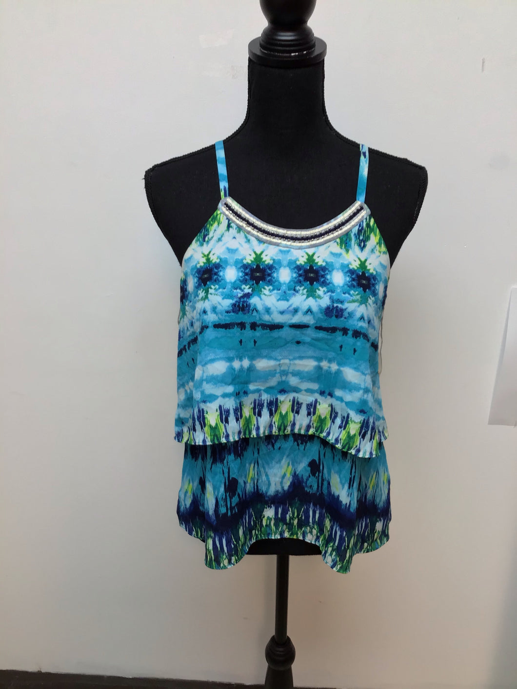 IZ byer aqua top with green and blue print size medium
