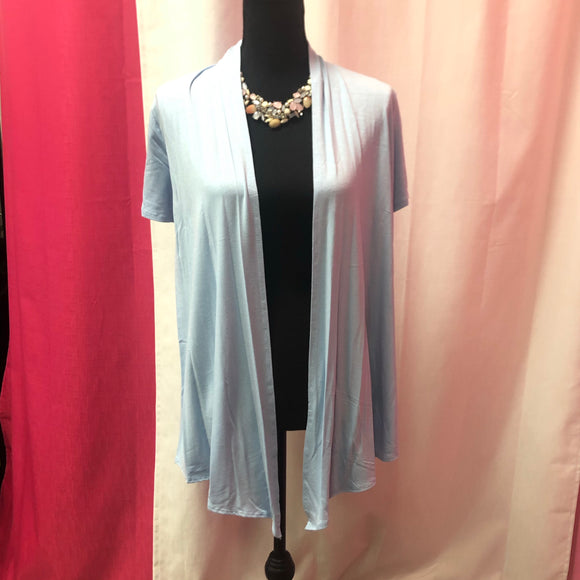 Short Sleeve Open Front Cardigan- Baby Blue