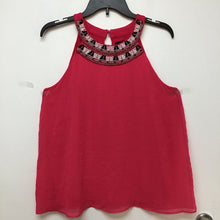 U-knit hot pink sleeveless blouse black and white and gold design at top size small