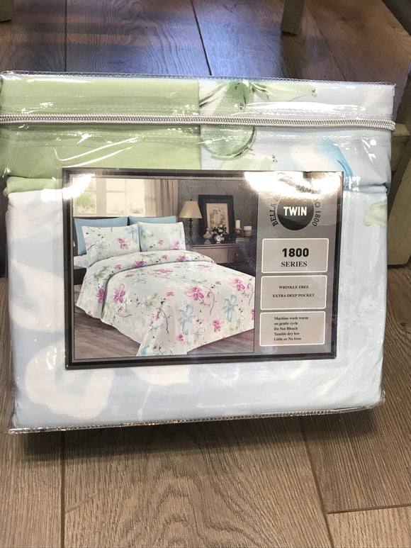 Twin Sheets Bella Home Bamboo 1800 Series Mint Cotton print