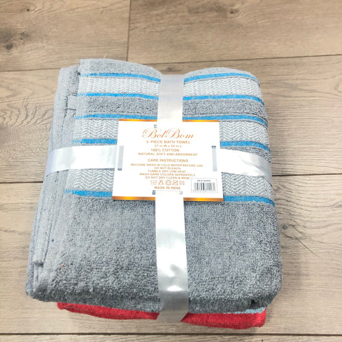 Bol Bom 3pc Bath Towel - Red Blue Gray
