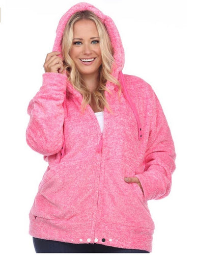 White Mark Cozy Collection Plus Size Sherpa Fuschia