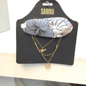 Sarina multi necklace and baby blue hair tie