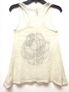La Banga Sleeveless Lace Top - Beige Sequence Flower