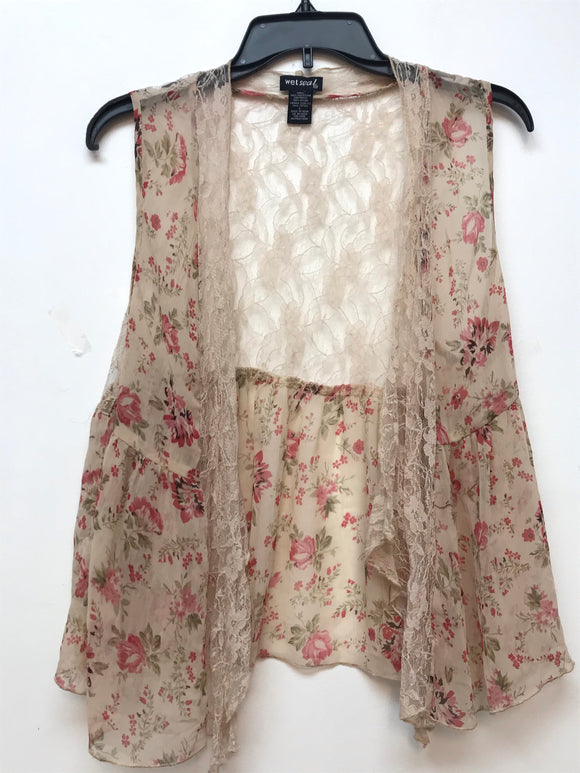 Wet Seal Sleeveless Top - Beige Floral Large