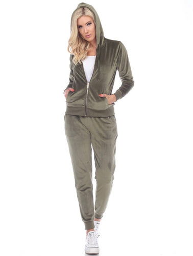 White Mark Velour Track Suit Olive