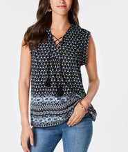 Style & Co Printed Lace-up Top - Black/Blue
