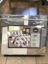 Twin Sheets Bella Home Bamboo 1800 Series Checker Blue White Brown