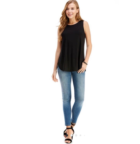Casual Sleeveless Top- Black