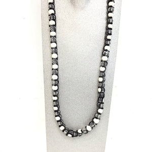 Black, white and clear beaded necklace