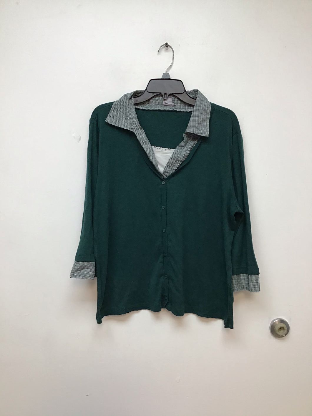 Laura Scott green top two in one style size 1X