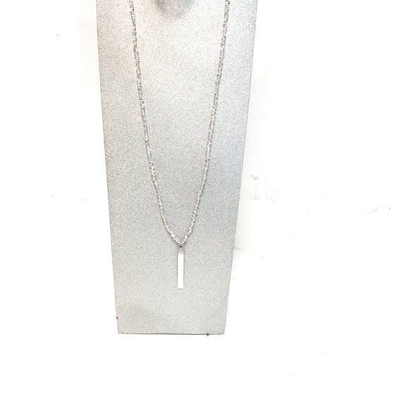 Sarina long silver color pendant style necklace