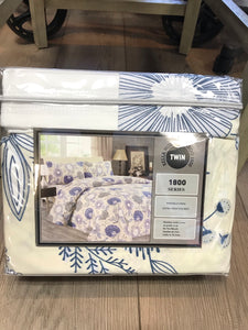 Twin Sheets Bella Home Bamboo 1800 Series White Blue Flower print
