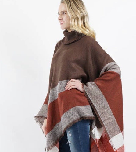 Plaid Turtle Neck Sweater Poncho-Mocha/Red