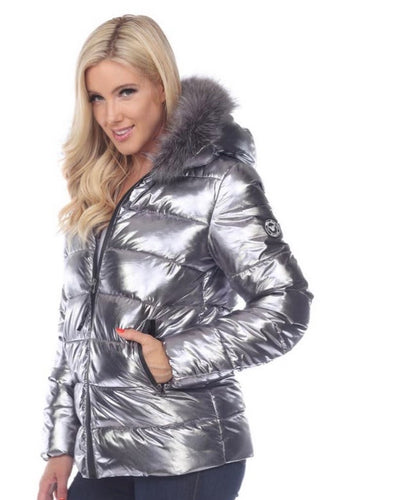 White Mark Plus Size Metallic Puffer Coat w/Hoodie  NEW*