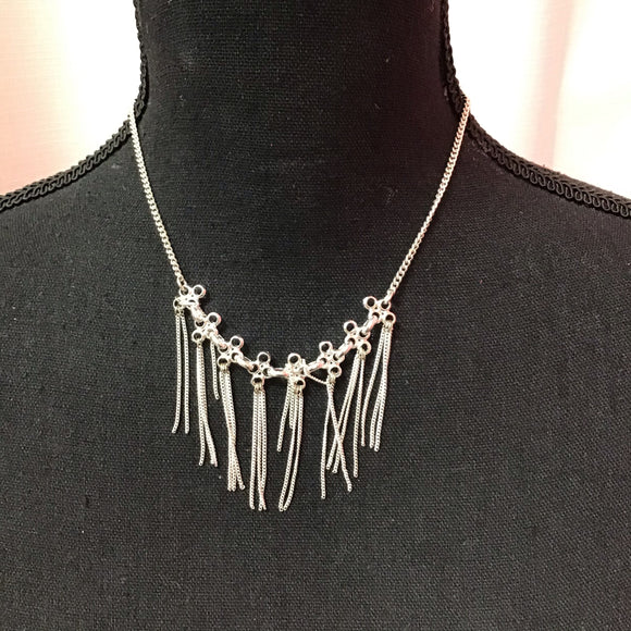 Sarina silver color tassel style necklace