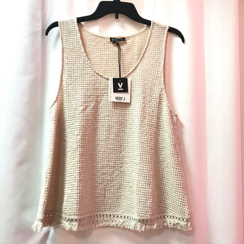 Waffle Knit Scoop Neck Tank Top-Fringe on Hem - Creme