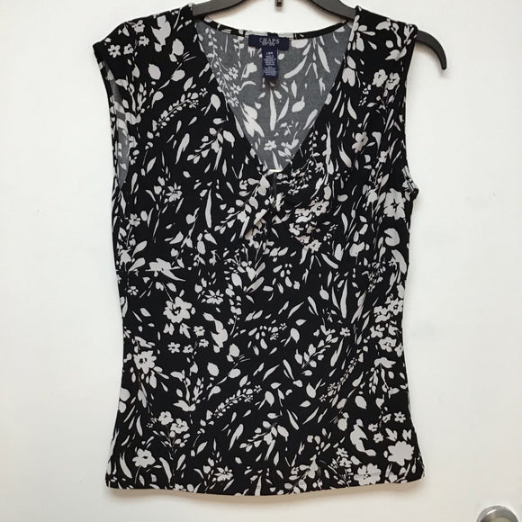 Chaps black with white floral print sleeveless top size L