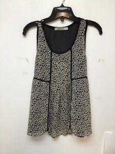 Chloe K beige and black sleeveless top with black print size small