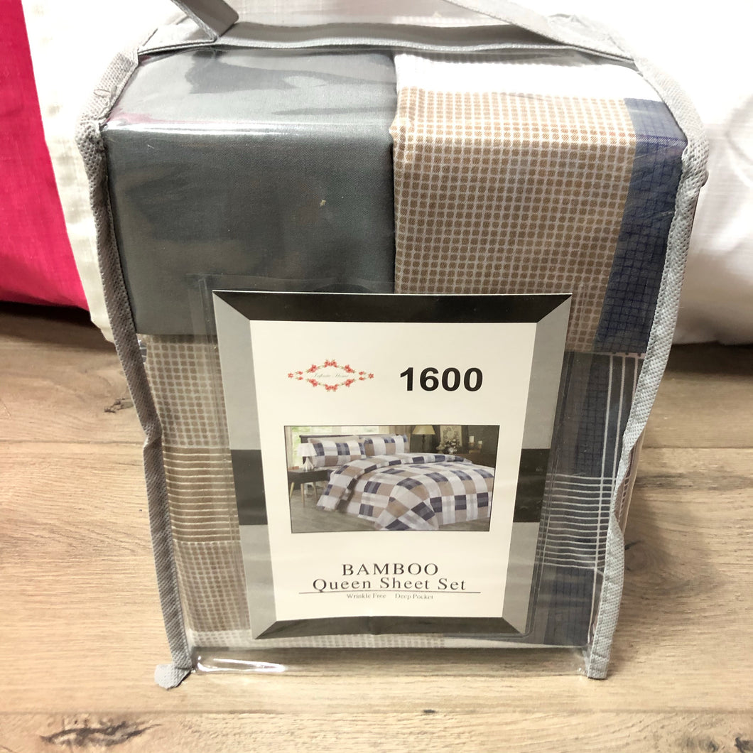 Bamboo Queen Sheet Set Gray White Brown Square Print