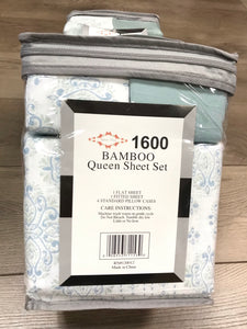 Bamboo Queen Sheet Set 1600 Series Light Mint/Blue