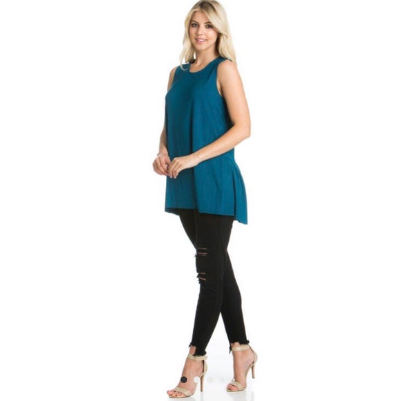 Sleeveless Back Ruffle Hem Tunic Top