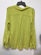 Loft lime green long sleeve blouse with white print size medium