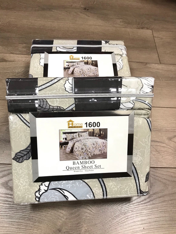 Bamboo Queen Sheet Set 1600 Series - Black Beige Gray Flower print