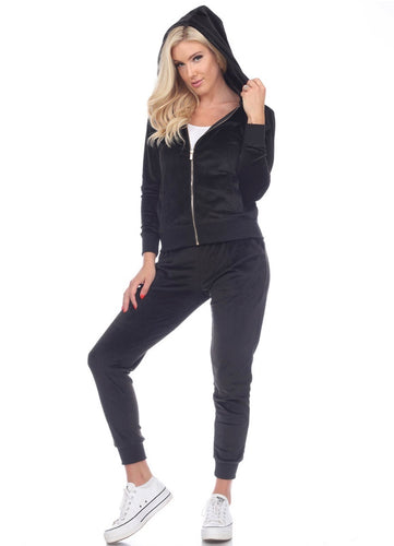 White Mark 2Pc Velour Track Suit BLK