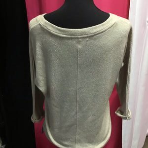 Forever 21 gold metallic sweater 3/4 inch sleave size small