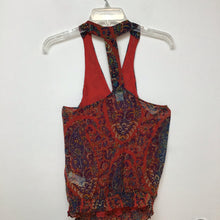 Lucky Brand red colorful paisley floral print halter top blouse size small