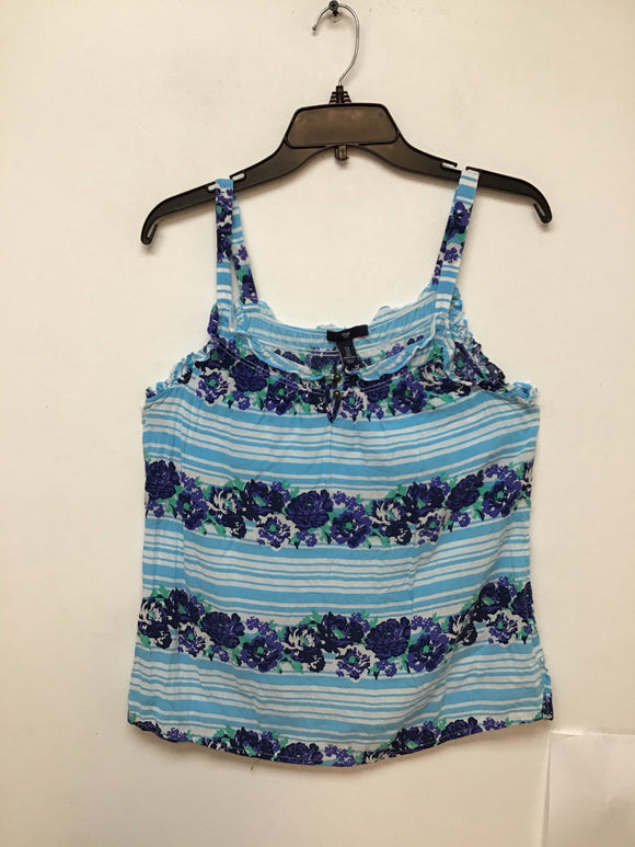Gap baby blue and white striped with violet flower print size s