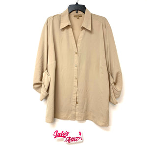 Notations Woman V-Neck Khaki Blouse