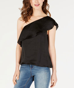 Juniors Ruffled One-shoulder Top - Black