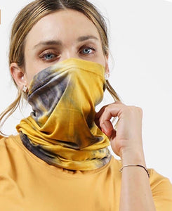 Tie Dye Convertible Tube Mask - Mustard