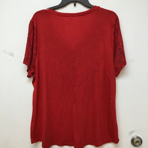 Style and Co. red top with blue print size 2X